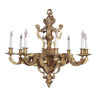 19th Century French Eight-Light Louis XV Bronze Chandelier For Sale