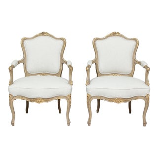 1920s French Louis XV Painted and Parcel-Gilt Armchairs- a Pair For Sale