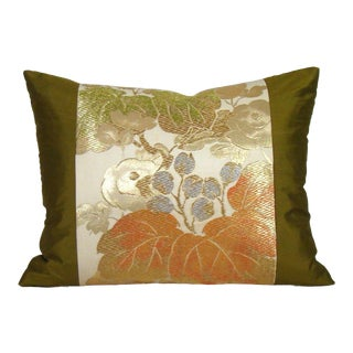 Golden Grapevine Japanese Silk Obi Lumbar Pillow Cover For Sale