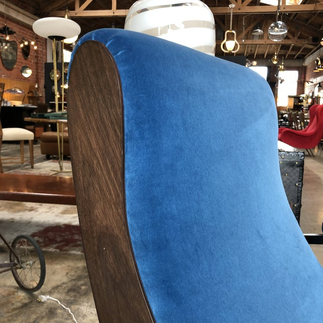 Fabric Lounge Armchairs in Wood and Blue Suede, Italy 1950s - a Pair For Sale - Image 7 of 11