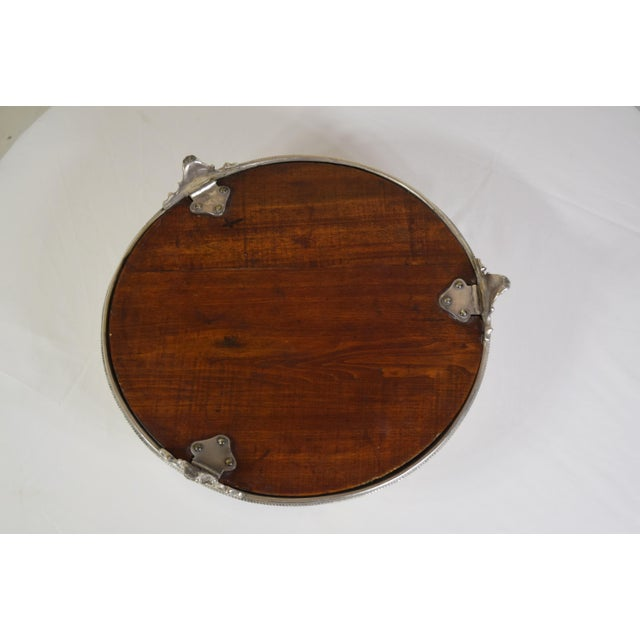 Metal Late 1900's English Silver Plate Engraved Round Mirror Plateau For Sale - Image 7 of 8