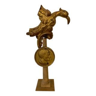 19th Century Italian Golden Bird Figure on Wooden Base For Sale