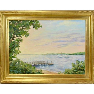 """Summer Cove"" Contemporary Nautical Maritime Oil Painting, Framed For Sale"