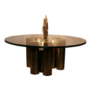 Brutalist Coffee Table With Coordinating Pendant Light Fixture For Sale