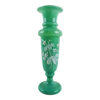 Jade Green Bristol Glass Bud Vase For Sale