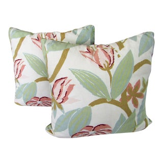Reversible Pink & Green Floral Accent Pillows - A Pair For Sale