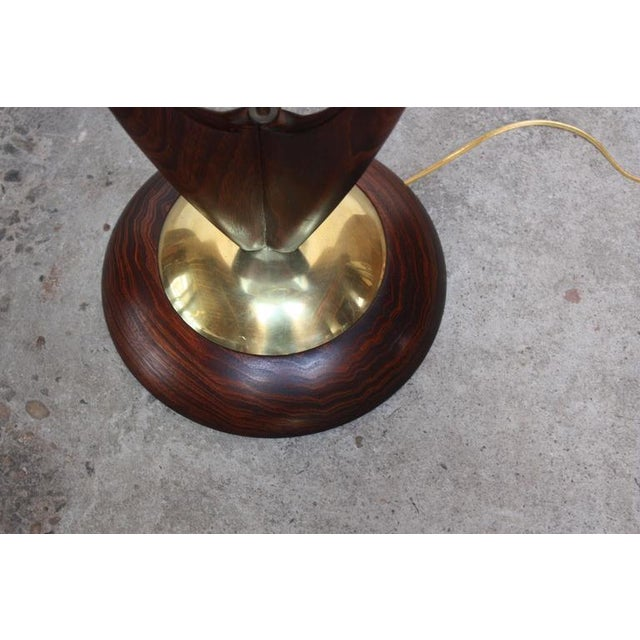 Mid-Century Modeline Stained Walnut and Brass Floor Lamp - Image 7 of 8