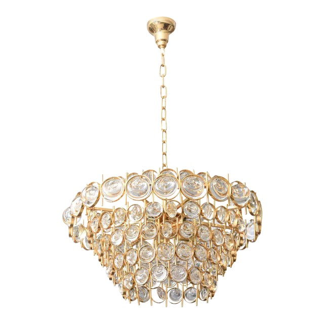 Gold Plate and Crystal Chandelier by Palwa For Sale