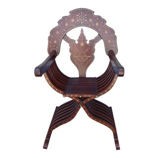 Moroccan Brass Inlaid Chair For Sale