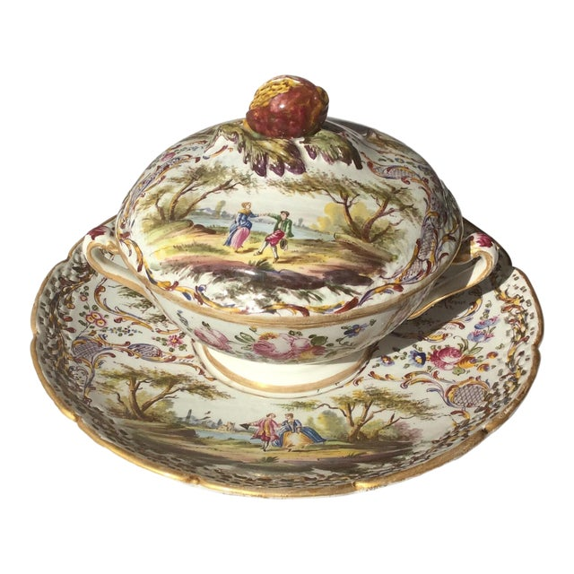 Antique French Faience Serving Dishes - 3 Piece Set For Sale