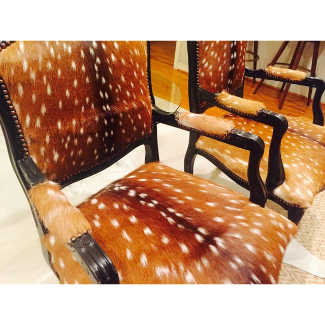 French Axis Deer Arm Chairs - Pair For Sale - Image 11 of 11