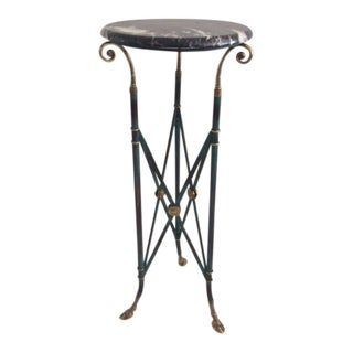 1970s Vintage Directoire-Styled Brass and Marble Pedestal For Sale