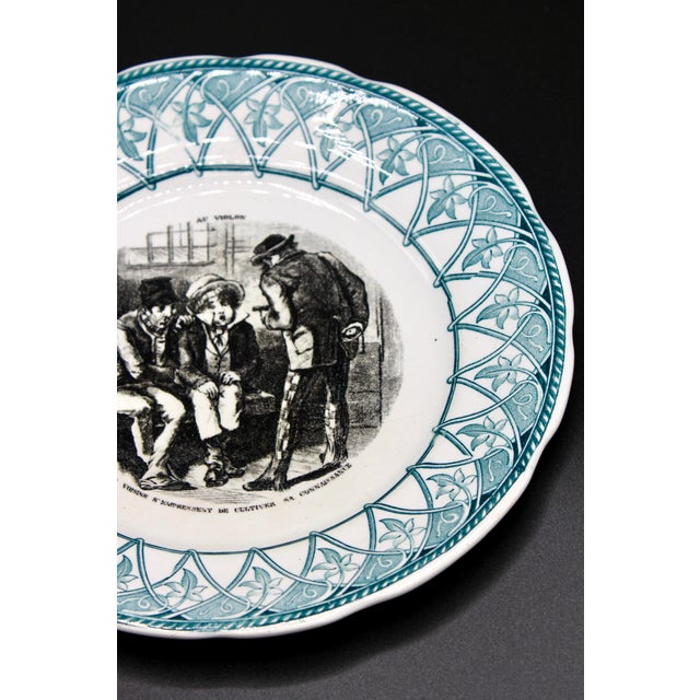 """French Early 20th Century French Plate """"Au Violon"""" For Sale - Image 3 of 10"""