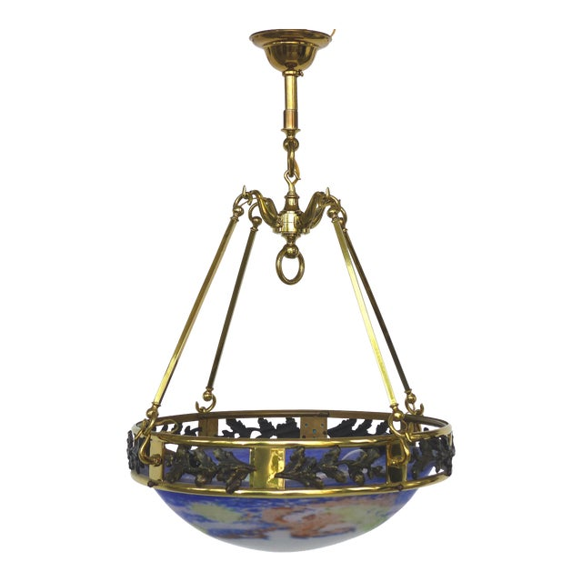 1940s French Art Deco Bronze & Glass Pendant Chandelier After Muller Fres Luneville For Sale