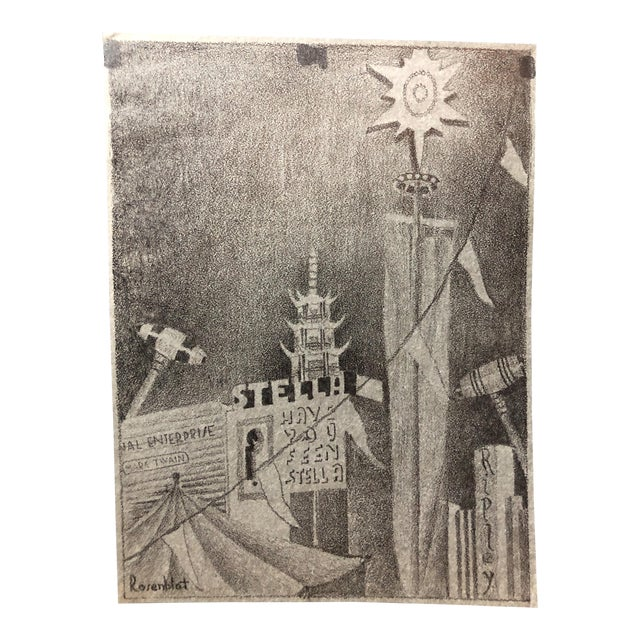 1915 Pencil Drawing San Francisco World's Fair For Sale