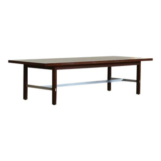 1950s Mid-Century Modern Paul McCobb for Calvin Furniture Walnut and Aluminum Coffee Table For Sale