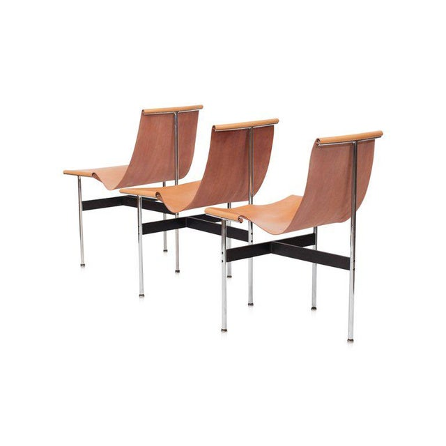 1960s Laverne International T Chairs in Natural Cognac Leather For Sale - Image 5 of 11