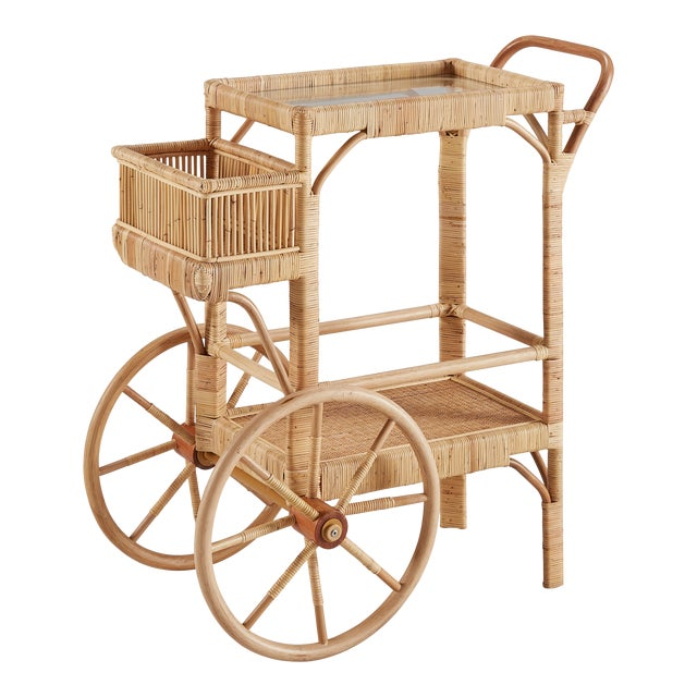 Bimini Bar Cart, Beige, Rattan For Sale