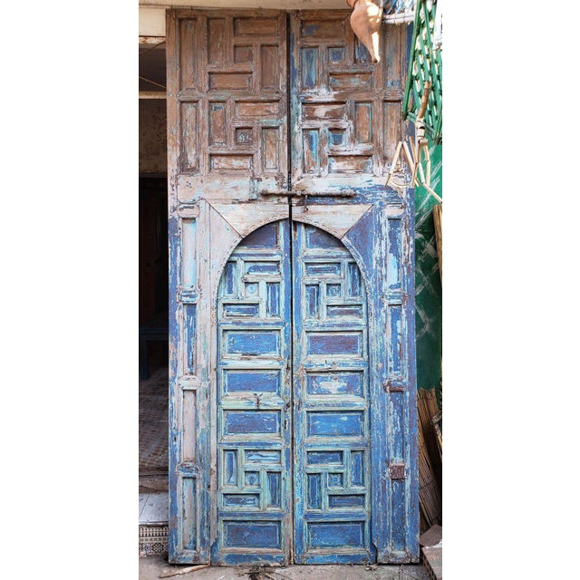 1940s 1940s Vintage Moroccan Old Hand Painted Double Door For Sale - Image 5 of 8