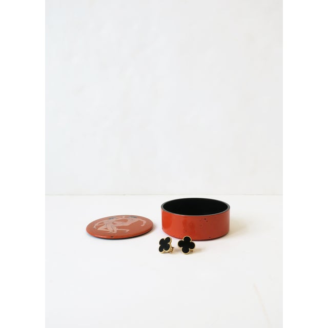 Burnt Orange Jewelry Box With Greco-Roman Nude Male Figurative Design For Sale - Image 8 of 13