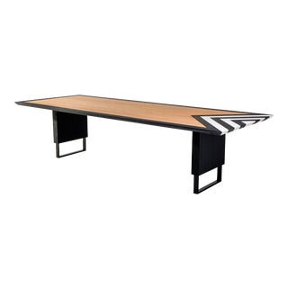 Modern Large Dining Table in Black, White and Natural Oak For Sale