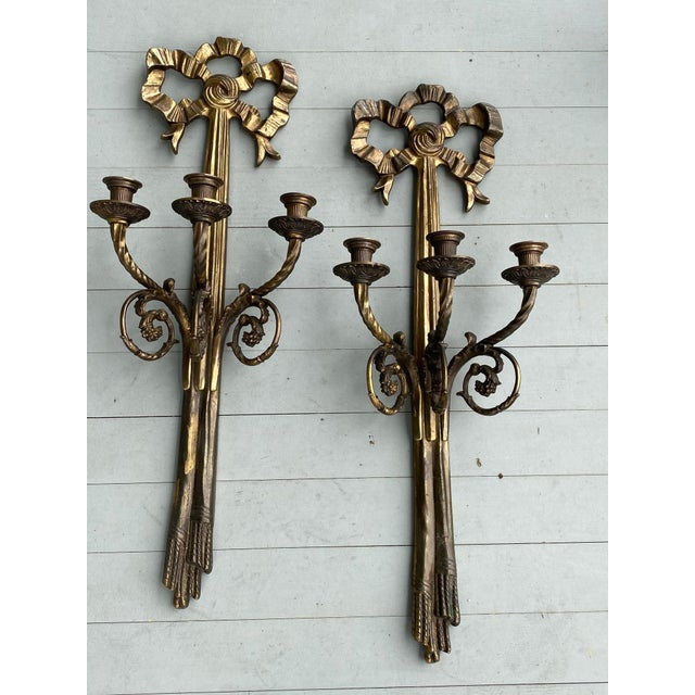 19th Century Brass Wall Candelabras - a Pair For Sale In New York - Image 6 of 7