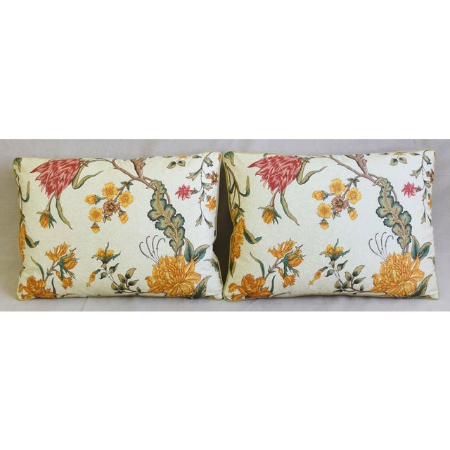 """Pair of custom-tailored pillows in Schumacher """"Arbre Fleuri"""" printed floral cotton fabric. French green and off-white..."""