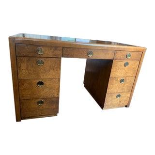 Art Deco Burl Walnut Pedestal Desk For Sale