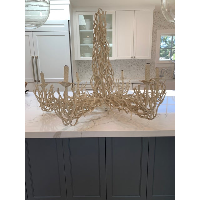 Vintage Faux Coral Iron Chandelier For Sale - Image 4 of 4