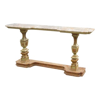 Florentine Marble Top Console Table