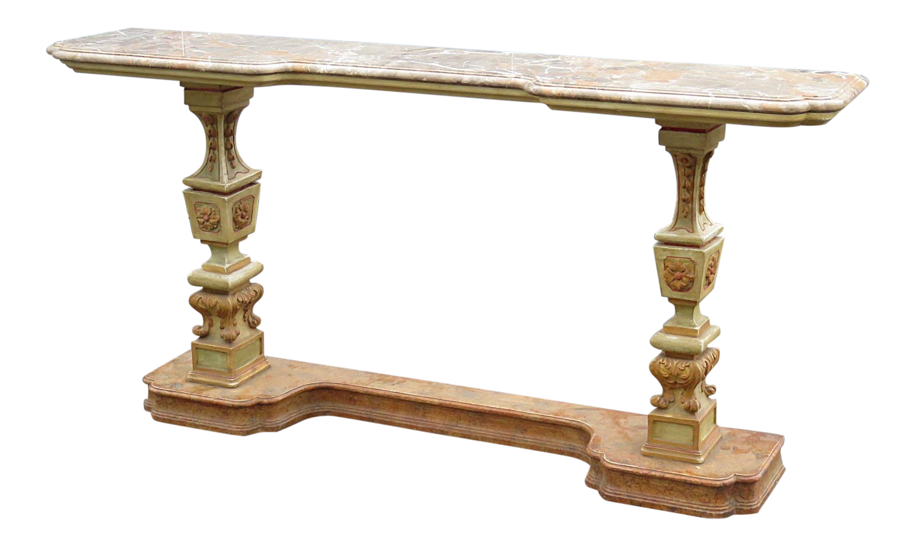 Genial Florentine Marble Top Console Table