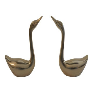 Vintage Brass Swan Figurines - a Pair For Sale