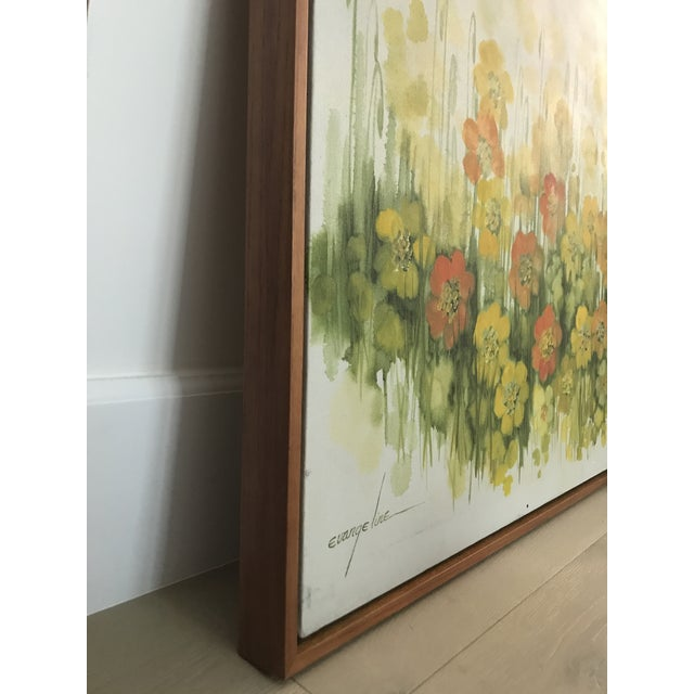 1960s Vintage Mid-Century Large Floral Oil Painting For Sale - Image 5 of 8