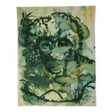 Image of Vintage Abstract Watercolor Portrait Painting of a Woman For Sale