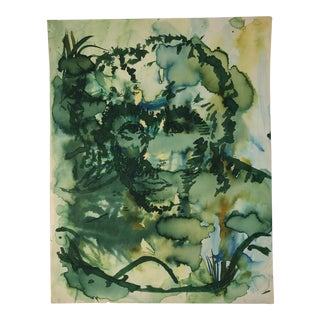 Vintage Abstract Watercolor Portrait Painting of a Woman For Sale