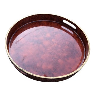 Mid Century Modern Vintage Tortoise Shell Round Tray For Sale