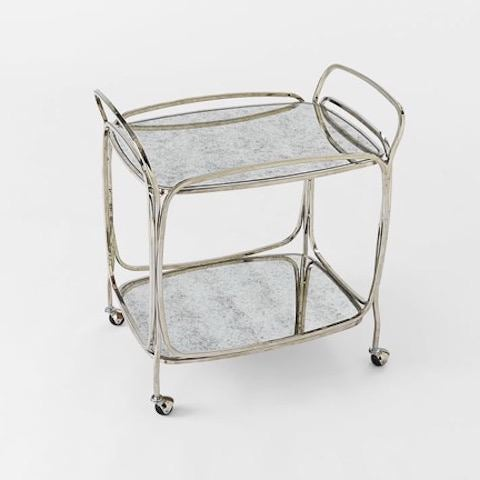West Elm Mirror Bar Cart For This Tail Station Is A Nod To Art Deco Glamour
