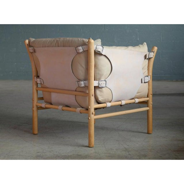 Arne Norell Safari 1960s Chair Model Ilona in Cream and Tan Leather For Sale In New York - Image 6 of 11