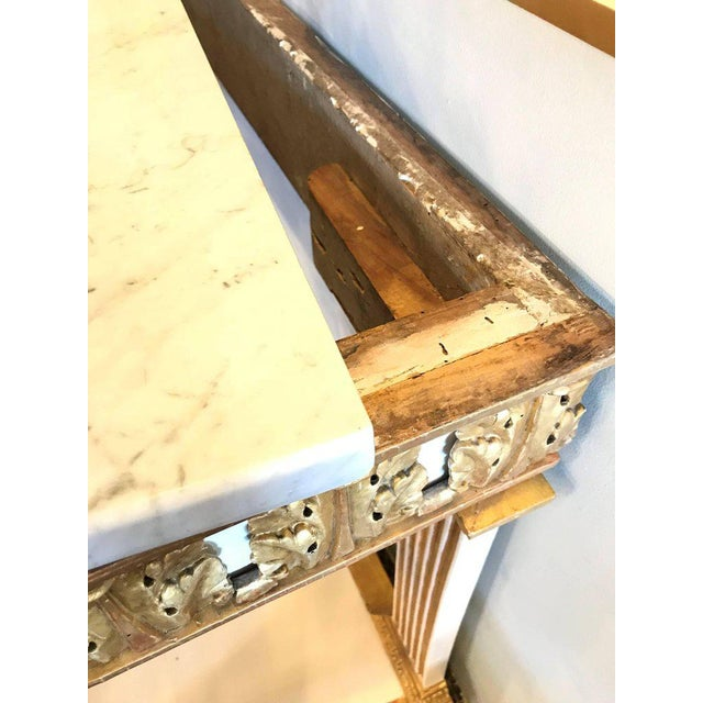 Italian Empire White Painted and Parcel Gilt Console Table Circa 1825 For Sale - Image 10 of 11