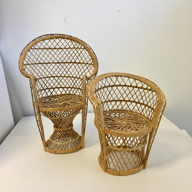 Wicker Vintage Boho Wicker Chair Plant Stands - A Pair For Sale - Image 7 of 7