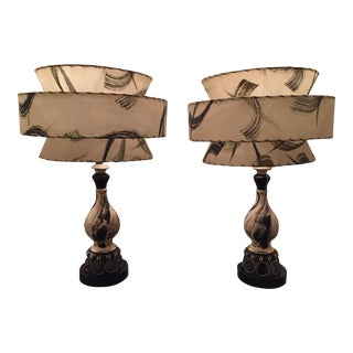 Mid-Century Atomic Tiered Fiberglass Lamps- a Pair