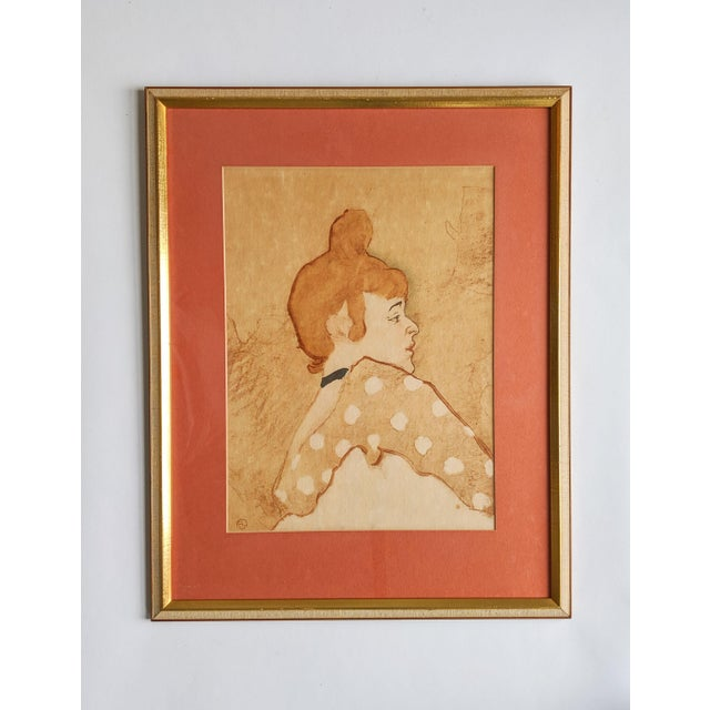 Wood French Women Portrait Prints of 19th Century Artworks by Painter and Artist, Henri De Toulouse-Lautrec. Lot of 4 For Sale - Image 7 of 13
