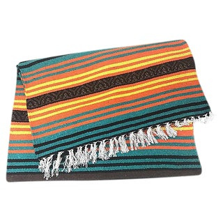 Mexican Fringed Peyote Throw Blanket For Sale