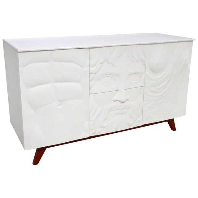 Contemporary Italian White Sideboard or Cabinet With Burgundy Wood Legs For Sale - Image 11 of 11