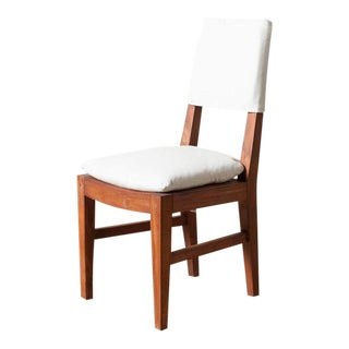 Traditional Cream Upholstered Teak Dining Chair For Sale