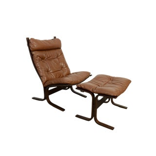 1980s Vintage Leather Lounge Chair and Ottoman For Sale