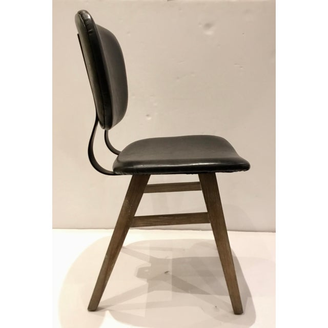 2010s Industrial Modern Black Faux Leather Side Chair/Desk Chair For Sale - Image 5 of 7