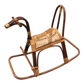 1950s Mid Century Modern Swedish Rattan Rocking Horse For Sale