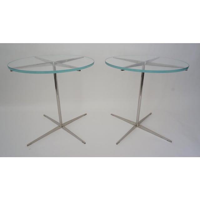 Vintage Drinks or Side Tables Glass on Polished Steel Pedestal - a Pair For Sale - Image 4 of 11