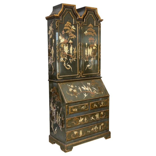Chinoiserie Chippendale style Hunter Green and Gilt hand painted Lacquered Secretary. Late 19th c. to early 20th c....